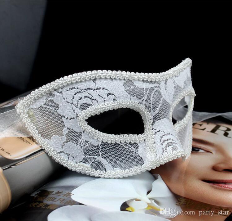 Women Sexy Elegant Translucent Cloth Masquerade Masks Halloween Party Half Face Masks Bar Club Show Carnival Masks Black White Red