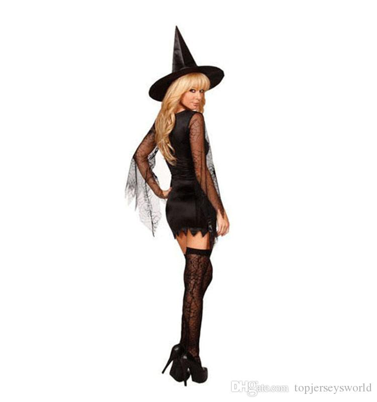 Hot Popular Cute Witch Black Sexy Halloween Costumes Sexy Witch Costume 4s1464 Hot Sell Sexy Adult Costumes School Girl Costume Dog Halloween Costumes From ...  sc 1 st  DHgate.com & Hot Popular Cute Witch Black Sexy Halloween Costumes Sexy Witch ...