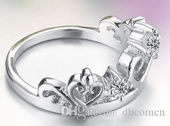 여성을위한 크라운 다이아몬드 반지 하트 크리스탈 보석 한국어 스타일 소녀 선물 파티 결혼식 크리스마스