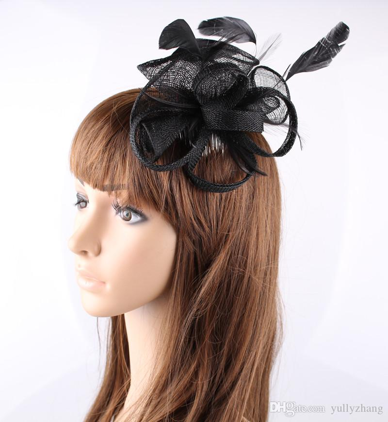 Nice black color available sinamay material fascinator hat race hair accessories occasion headpiece bridal hair accessories OF1568