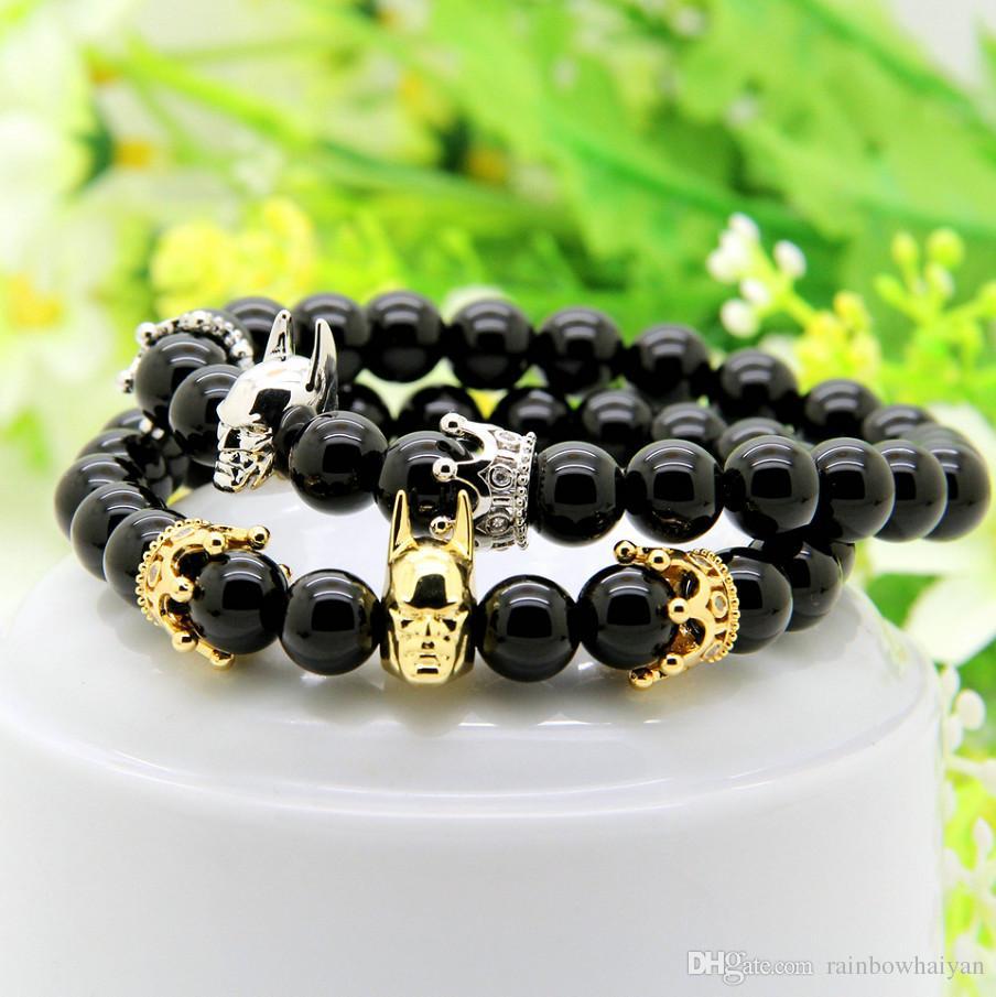 Moda Roman Knight Crown Pulseira 8mm Um Grau Black Onyx Pedra Beads Belas Mulheres Dos Homens Encantos Jóias