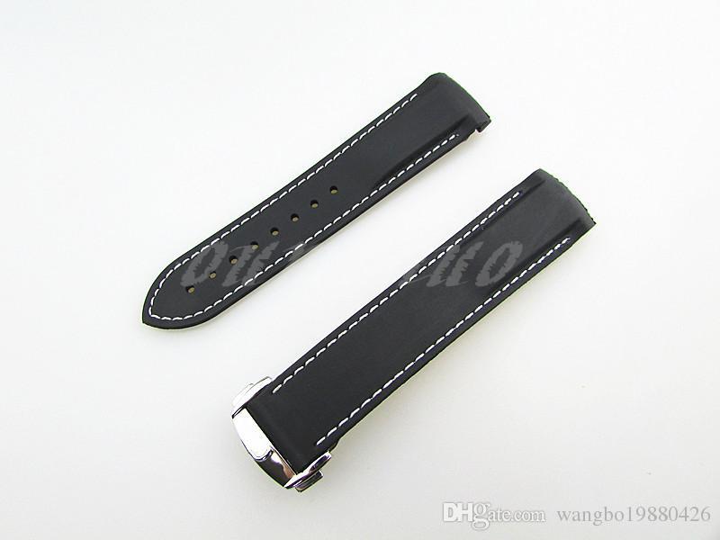 20mm YENİ Siyah Beyaz Omega İzlemek İçin dağıtım toka ile Dalgıç Lastik bant kayışı dikişli