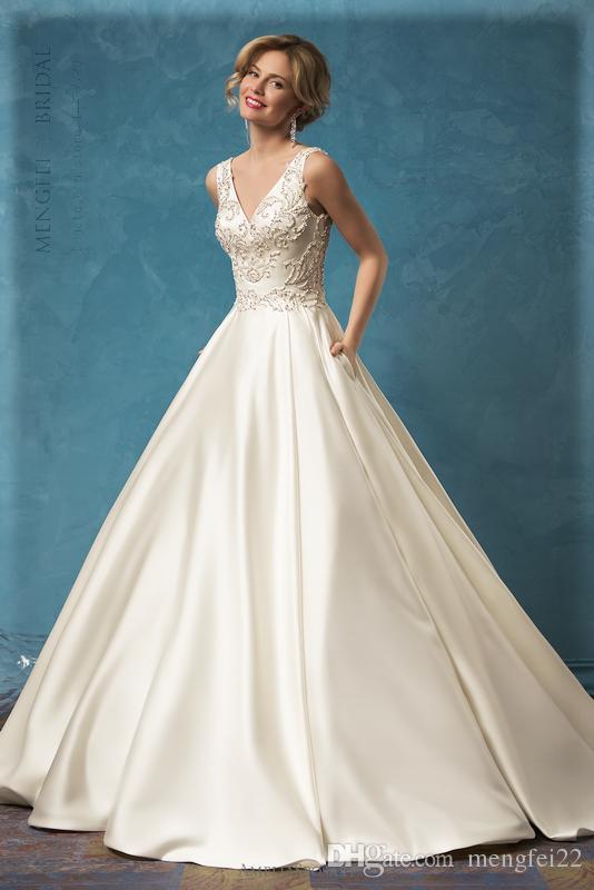 2017 Satin Princess Ball Gown Wedding Dress With Beading Sleeveless ...