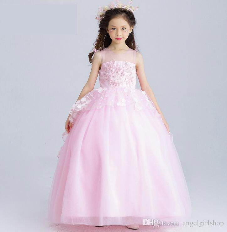 New Lace Ball Gown White Flower Girls Dresses Sequin Kids Wedding ...