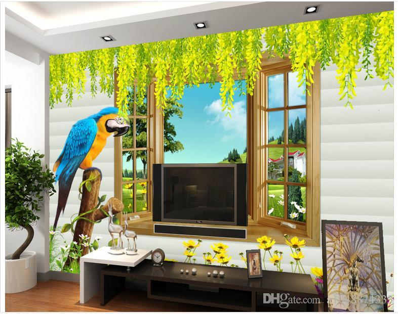 Custom modern minimalist mural photo wallpaper 3D three-dimensional window Ivy mural abstract art wall peper bedroom wall decor