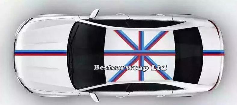 Decalcomanie auto cofano bandiera blu bianco rosso cappuccio decalcomanie cofano, tetto, tronco volkswagen / mini auto fai da te decalcomanie 15cmx30m / rotolo