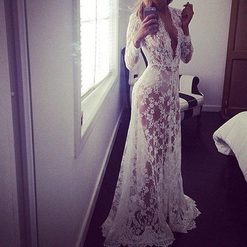 New 2016 Pregnant Women Sexy Lace Embroidery Long Maxi Dress Long Sleeve Deep V Neck See Through Vestidos White Floor-Length Plus Size S-4XL