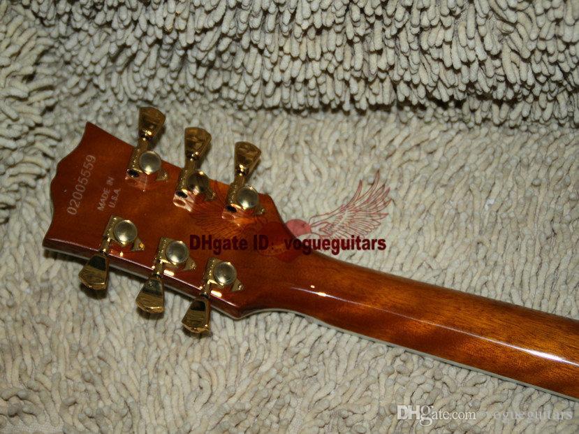 Оптовая новое прибытие коричневый пламя топ электрогитара ONE Piece шеи черное дерево гриф золото аппаратные гитары