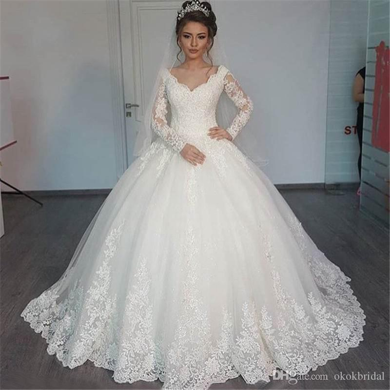 Cheap Wedding Dresses China 2016 Vestido Noiva Renda V Neck Elegant Long Sleeve Dress Ball Gowns