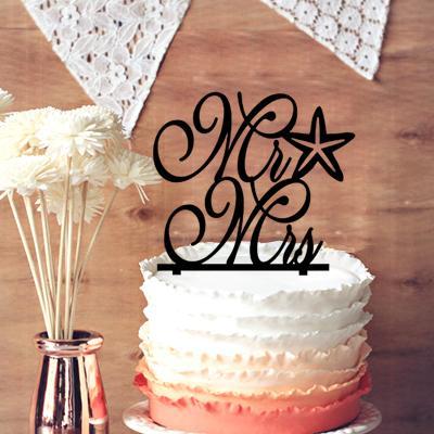 2018 Monogram Wedding Cake Topper, Cursive Mr And Mrs Starfish Beach ...