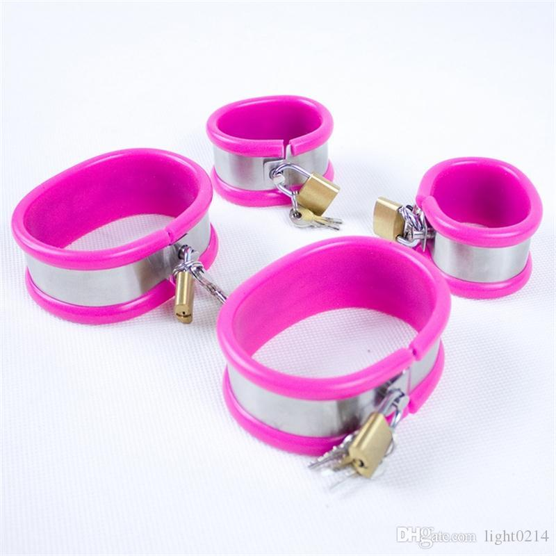 / ensemble Pantalon de chasteté collier + soutien-gorge de chasteté + ceinture de chasteté + menottes + cuisse anneaux Sex Toys Bondage contentions esclave jouets pour adultes G7-5-31