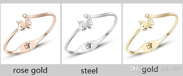 La pulsera de acero titanium de la superficie de la mariposa de la moda alta calidad no se descolora 18k de oro rosa