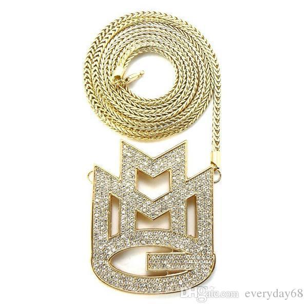 alta qualidade símbolos europeus e americanos liga de diamante colar de pingente carta hip-hop HIPHOP