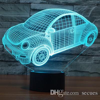 2017 VW Beetle Volkswagen 3D Optical Night Light 9 LEDs Night Light DC 5V Factory Wholesale