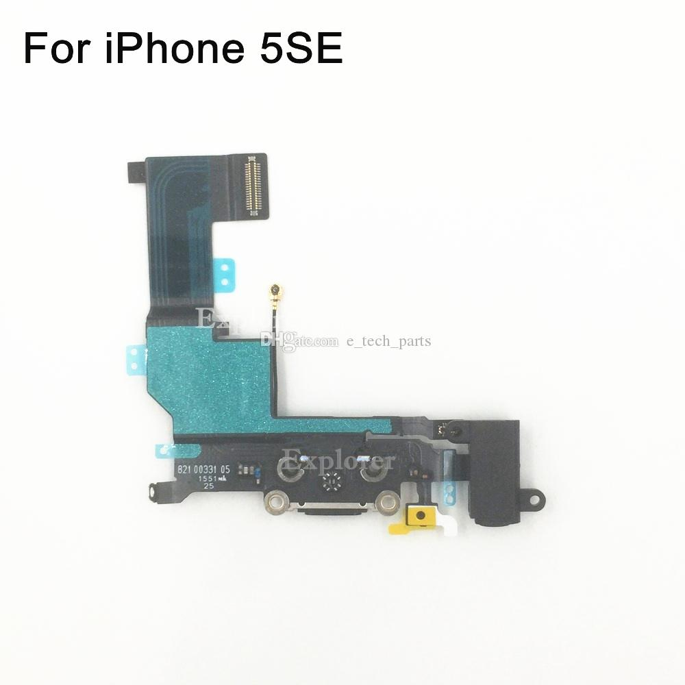 Original for iPhone SE 5SE USB Dock Connector Charger Charging Port Headphone Audio Jack Ribbon microphone Flex Cable Replacement Part