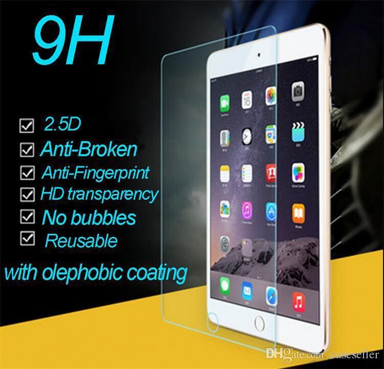 Protetor de tela de vidro temperado para ipad ipad mini 2 3 ipad filme ar comprimido protetor de tela 9 h 0.3mm pacote de varejo de vidro temperado