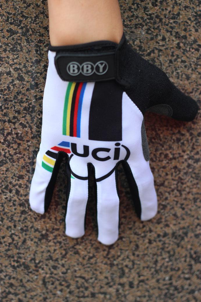 WINTER FLEECE UCI WORLD CHAMPION WHITE Ciclismo Guantes FULL-finger Ciclismo Bike Gel Guantes Bicycle Glove Accesorios Talla M-XL
