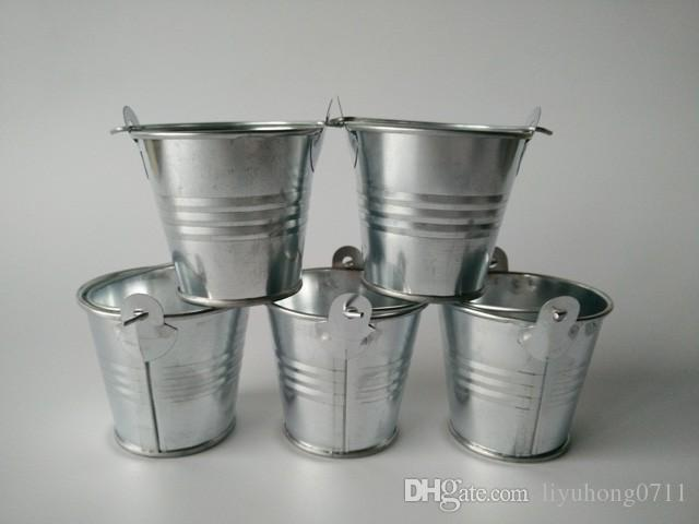 D6xh5.5cm Tiny Sukculents Pflanzgefäß Metall Kerze Eimer Candy Box Kinder Blech Eimer Hochzeit Gunst Inhaber Silber Farbe