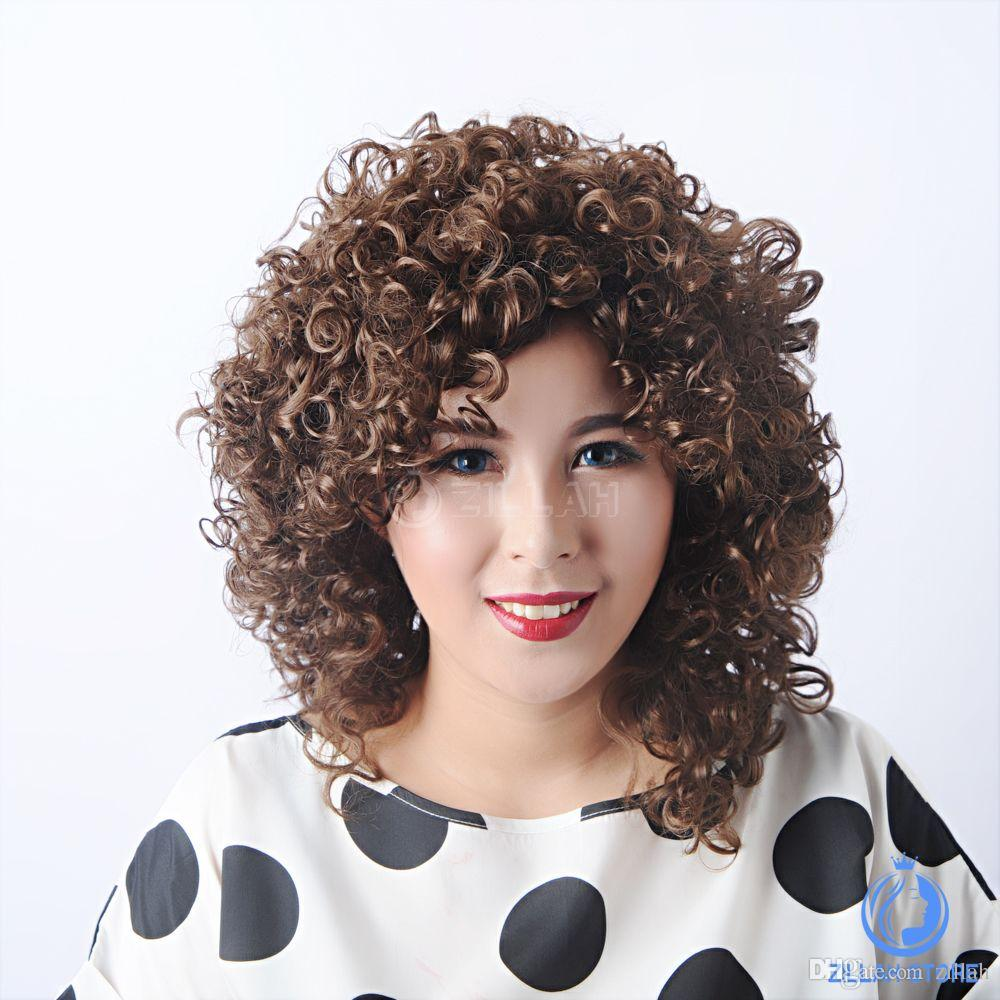Fashion Best Quality Chic Wigs Curly Short Hair Kinky Sepia - Short hair curly african american