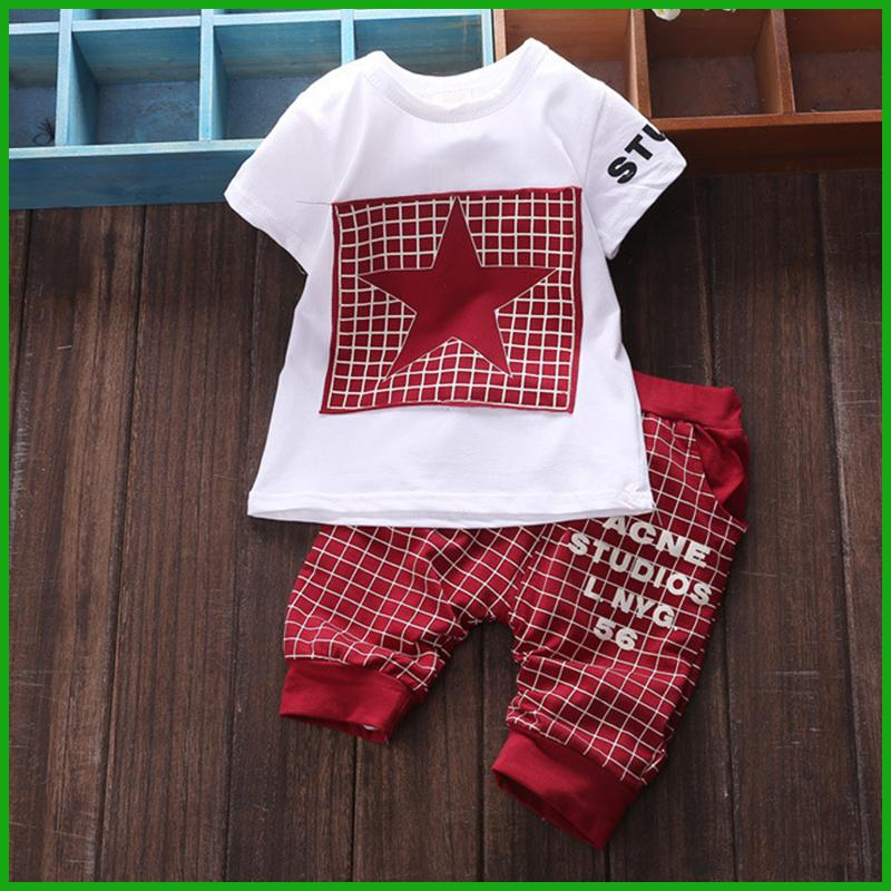 factory baby boys star t-shirt short pants available hot selling striped trousers popular summer children clothing