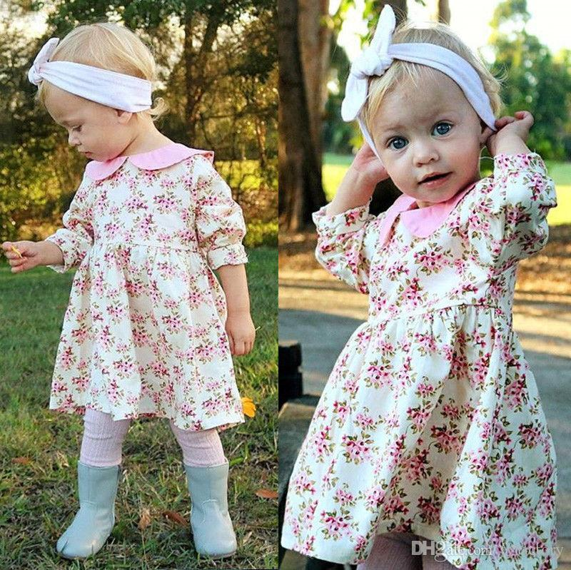 Baby girl flower dress tutu dresses kid clothing long sleeve country style girls pricess spring lady petticoat kid clothes pink skirts