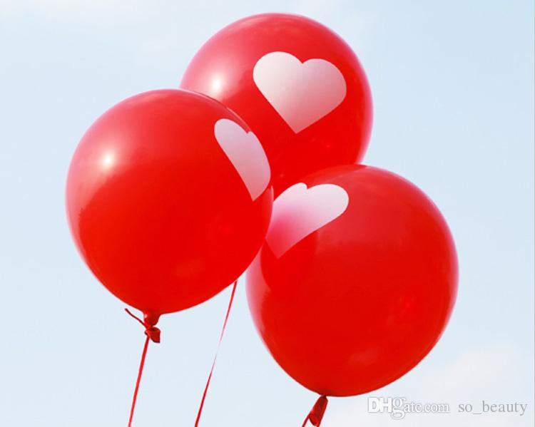 Latex Red Round Balloons with Heart Party Wedding Happy Birthday  Anniversary Decor Balloon 12 inch 100pcs/bag new