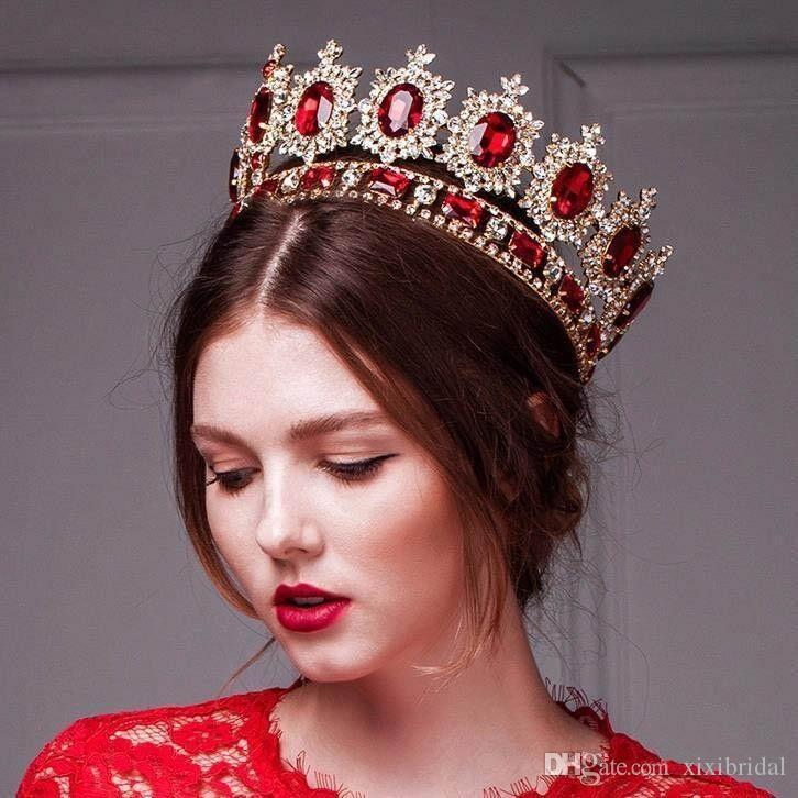 Luxury Western Style Red Dimand Crystals Princess Queen Wedding Party Hair Accessories Headwear Bridal Tiaras And Crowns