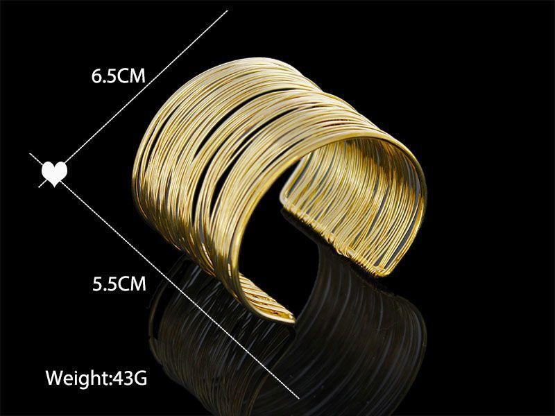 Fashion Gold/Silver Plating Bracelets Punky Style Hollow Cuff Retro Braid Big Gold Bangles For Women Charm Vintage Multilayer Wide Bracelet
