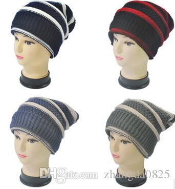 Wholesale-2016 new men fall and winter knitting hats designer stripes hedging thick wool caps MZ-32 Christmas gifts for women free shipping