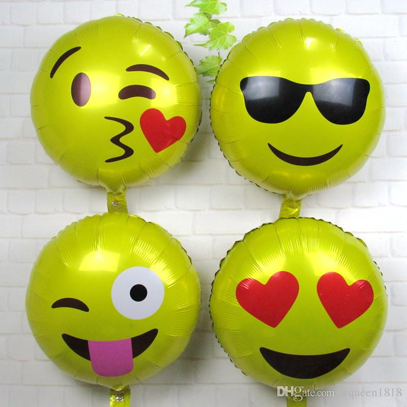 18inch Round Balloon Emoji Foil Balloons Smile Face Air Globos For Birthday Party Supplies Wedding Decoration Heart Order From