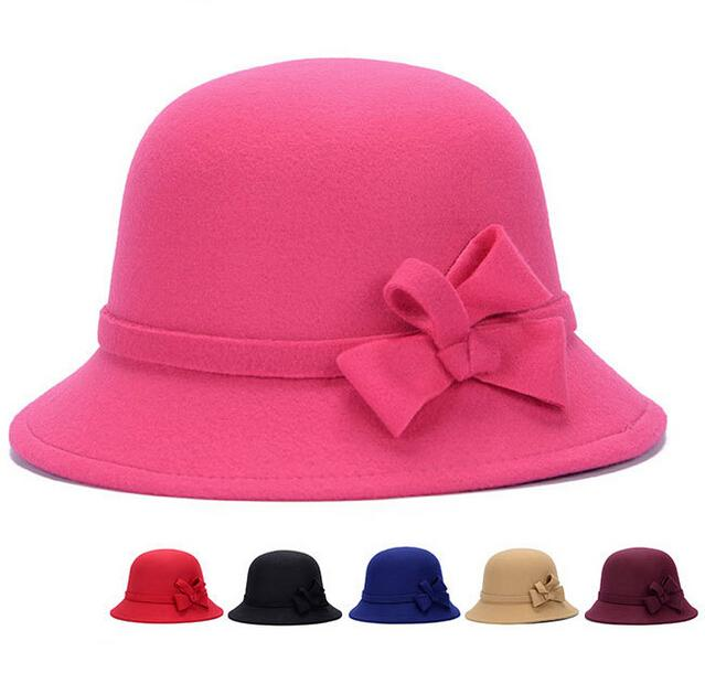 5f376f26bd1 Hot Sale Wool Wide Brim Felt Hat Fedora Hats for Women Big Bowknot ...