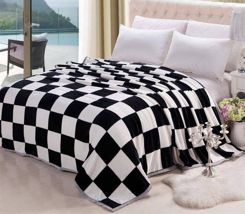 40 High Quality BlackWhite Checker Coral Fleece TwinTwin Extra Impressive Black And White Striped Throw Blanket