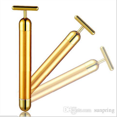 Bâton de massage de vibration de visage mince de barre de beauté d'énergie d'or de 24K, baguette magique de T, rouleau de massage électrique de visage plus raffermissant de DHL