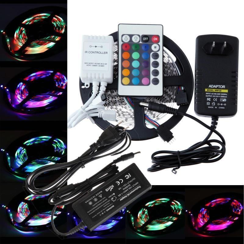 5M 5050 RGB 300LED SMD IP65 / IP23 60LEDS / M Light Strip / 24 44Key IR Remote / 12V 5A Alimentazione