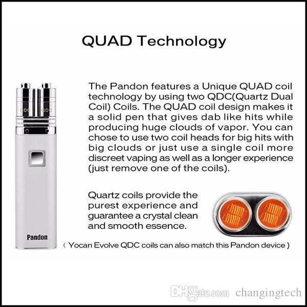 Auténtico Yocan Pandon Quartz Dual Coil para Pandon QUAD Wax Pen Kit Igual que Evolve QDC Coil Envío rápido
