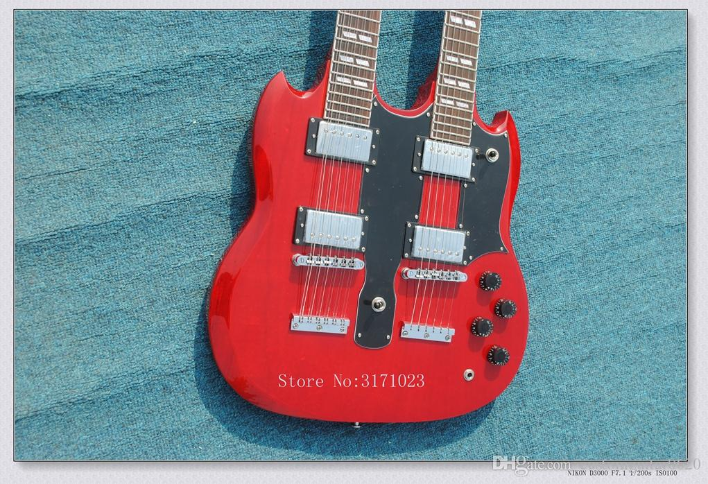 12 strings 1275 Double Neck Led Zeppeli Page Signed Aged red body 12 strings Electric guitar