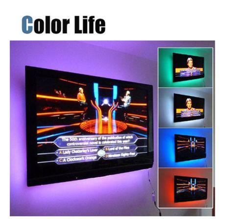 Bias Strips Multi-Color RGB Bakgrundsbelysning 50cm 100cm 200cm 300cm 400cm 500cm LED-band Lampa LED-TV Bakgrundsbelysningskit med USB-kabel