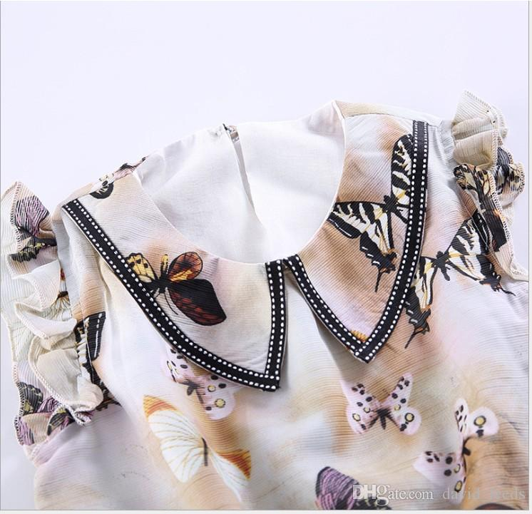 Big Girls Summer Conjuntos de Ropa 2016 Nuevos Niños Chiffon Butterfly Impreso Suéteres Tops + Shorts 2 unids Set Niños Trajes Moda Chica trajes