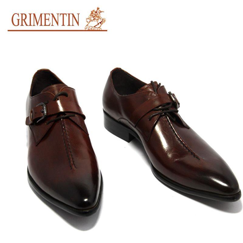 Handmade Fashion Italian Mens Dress Shoes With Buckle Black Brown ...