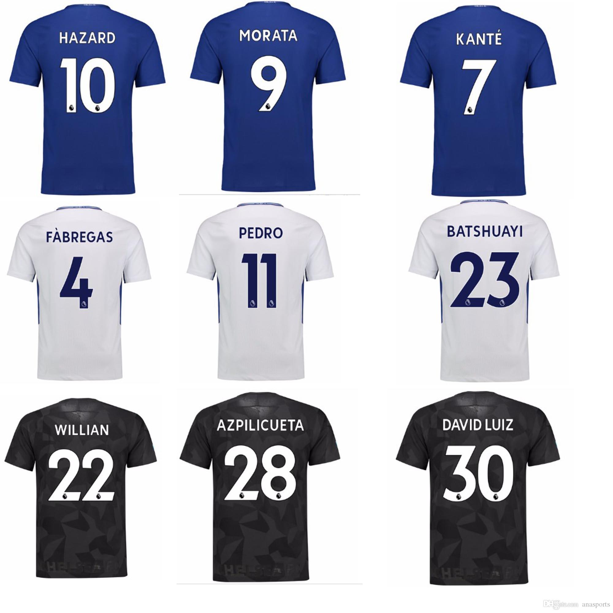 ce771dcca 2019 17 18 Season Top Quality Chelsea Soccer Jersey MORATA Willian HAZARD  Pedro KANTE Fabregas ANY NAME AND NUMBER HOME AWAY THIRD JERSEY From  Anasports