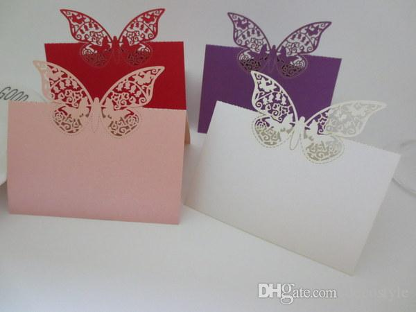 Elegant wedding favors butterfly folded place card invitation see larger image junglespirit Gallery