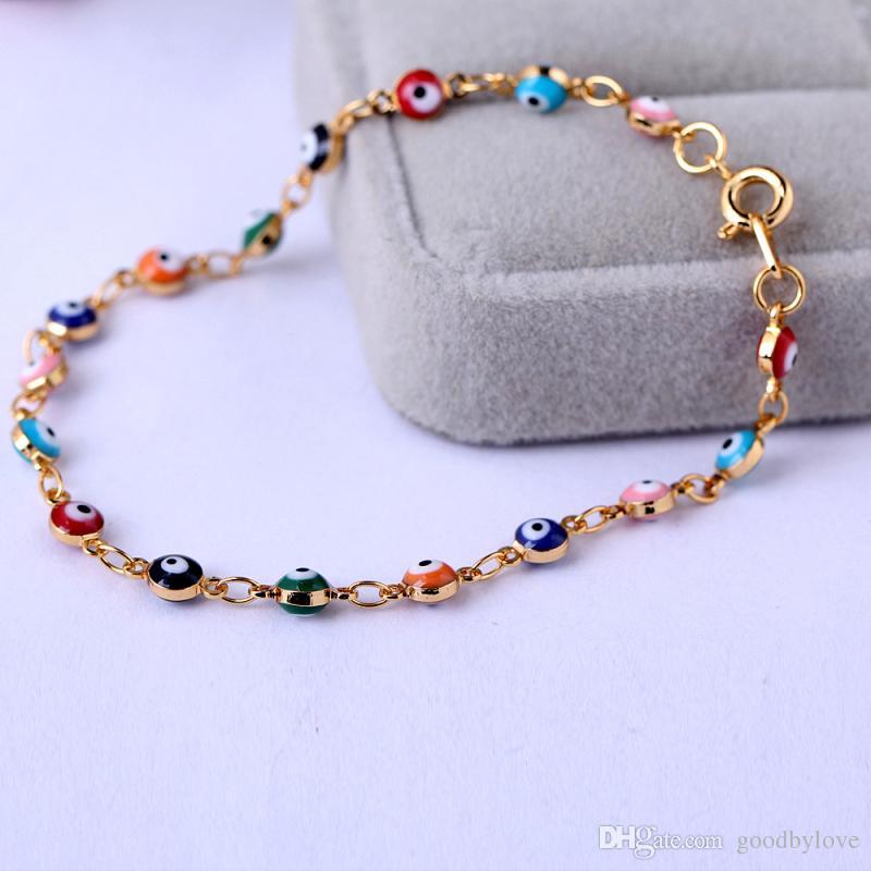 Retro 18K chapado en oro amarillo Multicolor Evil Eye Link pulseras de cadena brazaletes joyería de moda Bijoux para mujer 20cm 7.87
