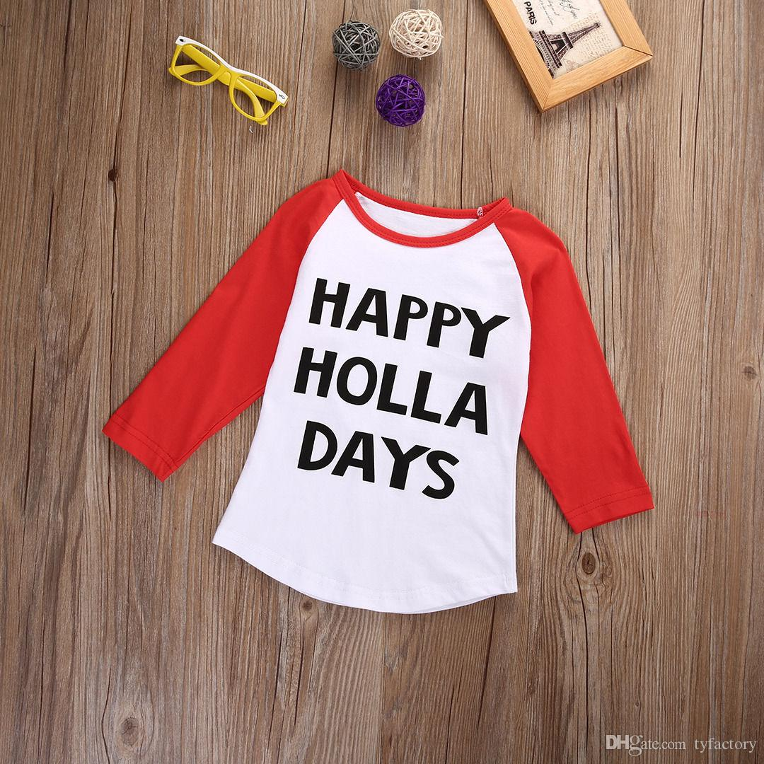 hot selling Kids Toddler Baby Boy Girl Xmas Family Long Sleeve T-shirt Tops Clothes HAPPY HOLLA DAYS funny letters printed cotton t shirt