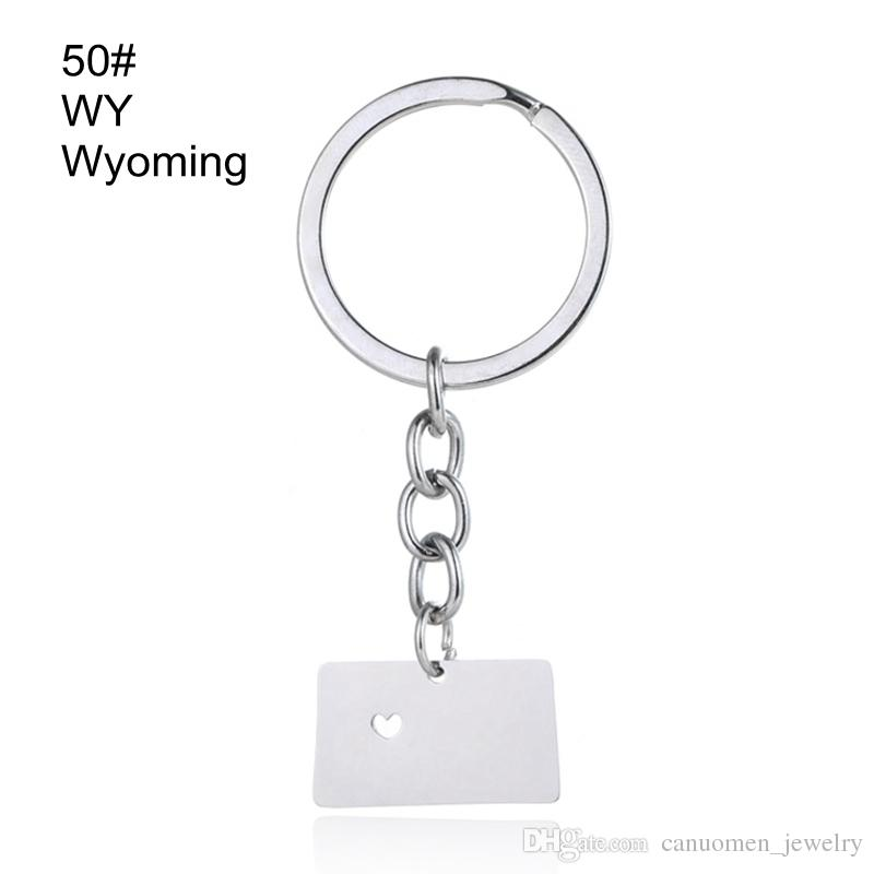 Washington Map Keychains Wisconsin Wyoming Map Key Rings Stainless Steel with Love Heart USA State Map Key Chain Silver Wholesale