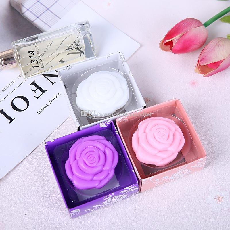 Rose Flower Scented Soap Wedding Favors Baby Shower Party Gifts Gift Box Packing DHL