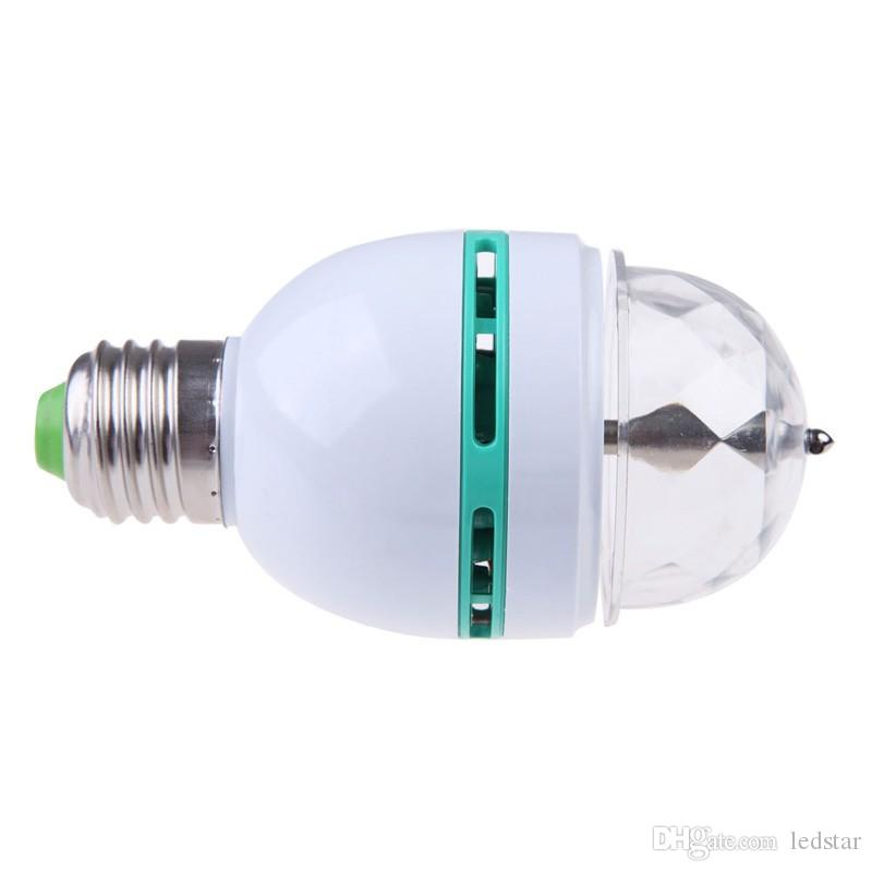 Magic Ball RGB Полноцветный 3W E27 светодиодные лампы Кристалл Авто Вращающийся Stage Effect DJ Light Bulb Мини лазерный свет этапа проектор