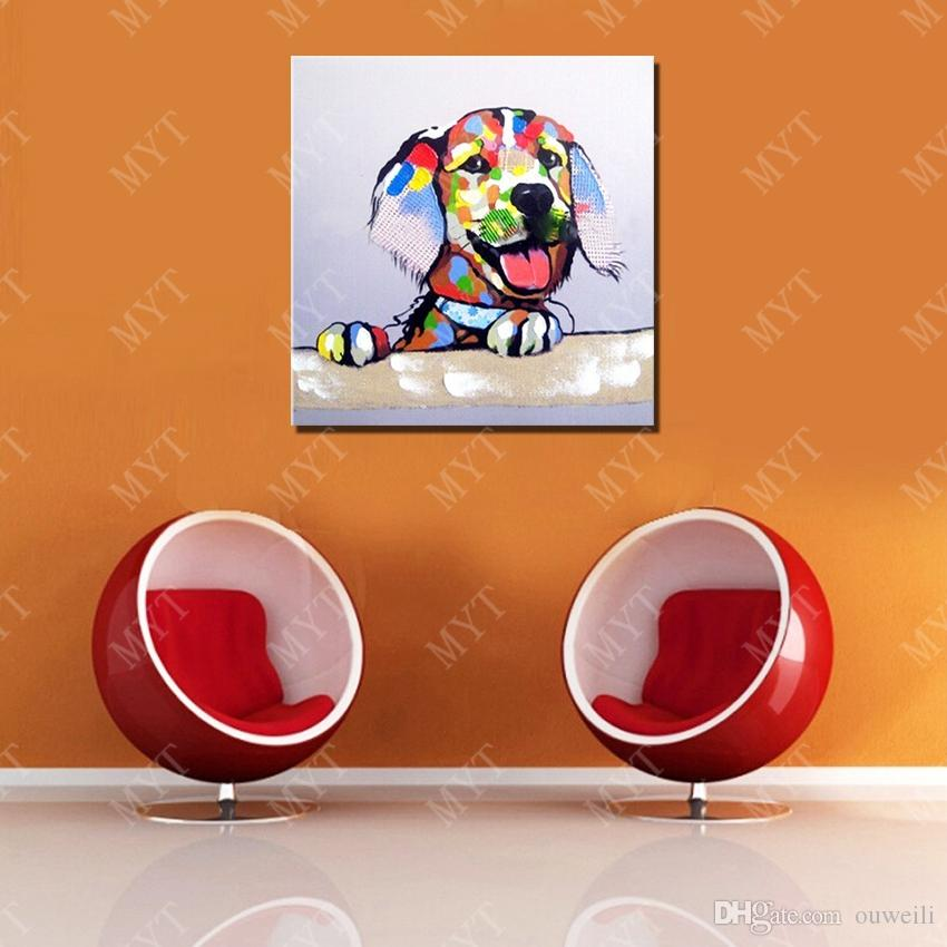 2016 New Design High Quality Cartoon Animal Dog Oil Painting No Framed Handpainted Picture Wall Art Oil Painting on Canvas