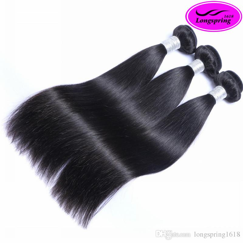 Natural Black 100% Peruvian Human Hair Unprocessed Top Hair Sliky Straight Best Quality Bleachable No Shedding Double Weft