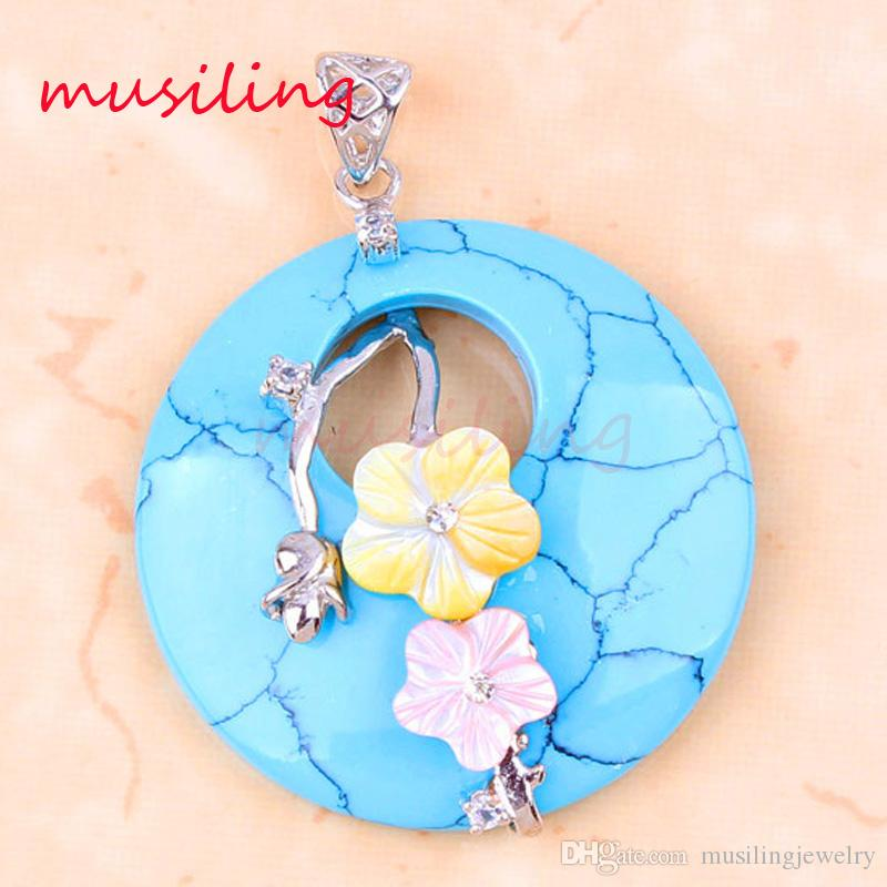Pendants Necklace Chain Vintage Plum Blossom Gem Stone Pendant Jewelry For Women Silver Plated Chakra Amulet Fashion Jewelry
