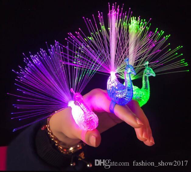 Colorful Light-up Toys Luminance Glow Flash luminous Flashing Peacock LED Finger Light Toys For Kids Party Decoration Gifts